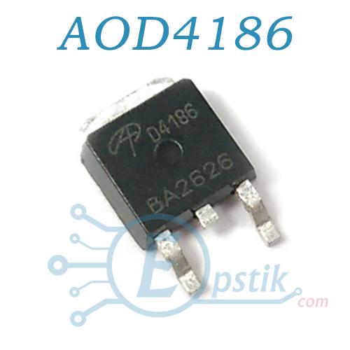 AOD4186, Mosfet транзистор N канал, 40В 50А, TO252