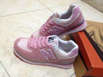 Кроссовки New Balance 574 Pink Розовые женские реплика