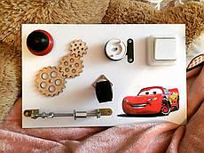"""Развивающая доска для детей Busy Board """"Тачки"""", по методики Монтессори, размер  40х25"""