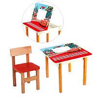 Деревянный столик со стульчиком Тачки F09-1 цвет красный