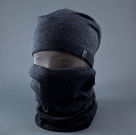 Шапка вязаная зимняя+баф