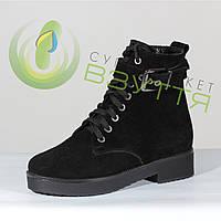 Женские зимние ботинки из замши на шнуровке, фото 1