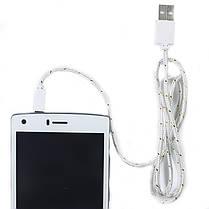 Кабель Lesko microUSB / USB 1 m в оплетке Белый для смартфона планшета и навигатора, фото 3