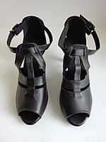 Женские черные танцевальные туфлиLove dance с открытым носком и небольшим каблуком  39 размер