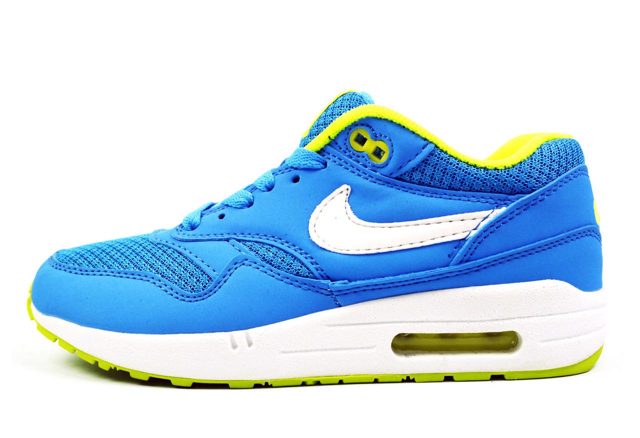 Яркие голубые женские кроссовки Nike Air Max 87 Blue/Green/White новинки весна, осень, лето