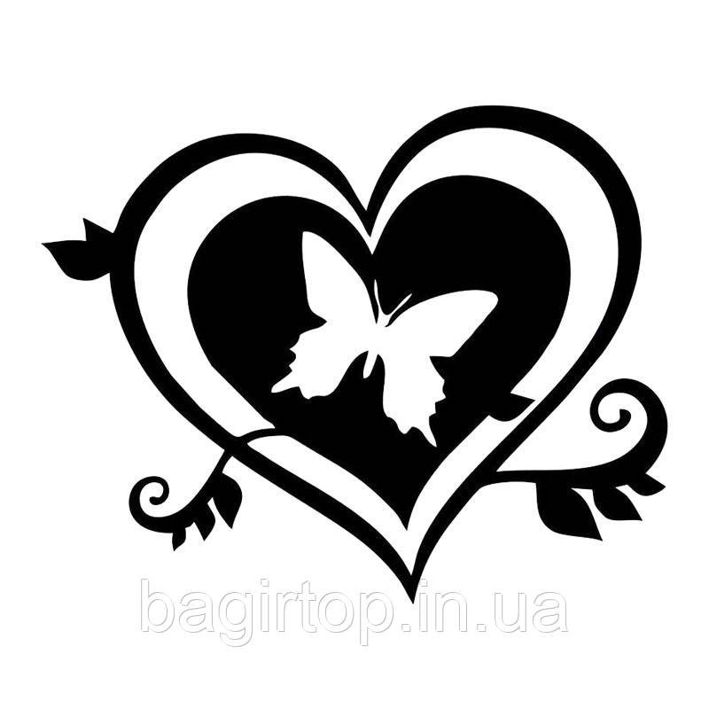 виниловая наклейка -  сердечко бабочка