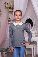 Модная детская кофта-блузка серого цвета с белым воротником