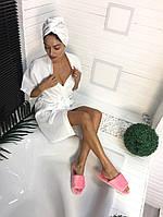 Банный набор белый халат и полотенце-капюшон