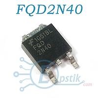 FQD2N40, Mosfet транзистор N канал, 400В 1.4А, TO252