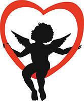 виниловая наклейка -  ангел сидит на сердце