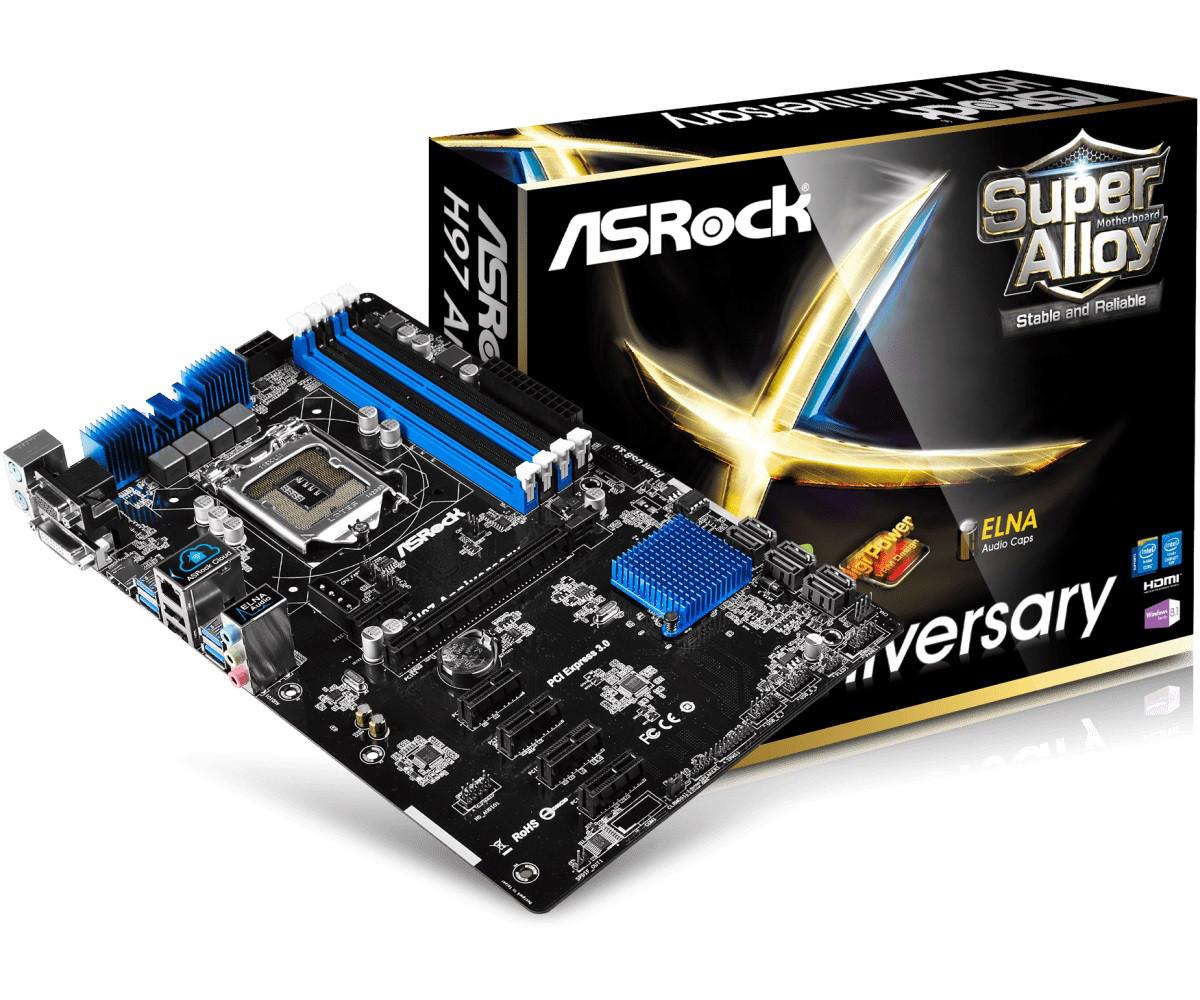 "Материнская плата ASRock H97 Anniversary s.1150 DDR3 ""Over-Stock"" Б/У"