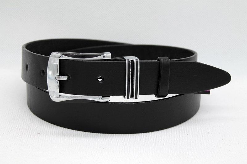Стильний шкіряний ремінь 35 мм чорний