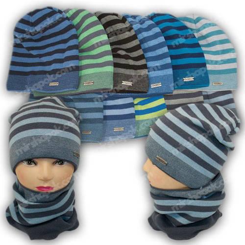 Вязаная шапка для мальчика с хомутом, р. 50-52, 1412