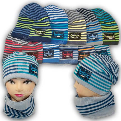 Вязаная шапка для мальчика с хомутом, р. 50-52, 1422
