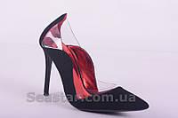 Замшевые туфли на шпильке комбинированные с силиконовыми вставками