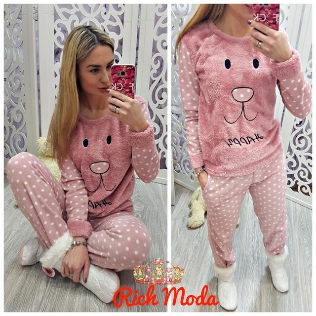 Теплая махровая женская пижама с мордашкой Турция 597012fa3e9a6