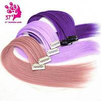 Волосы на заколках накладные цветные  пряди
