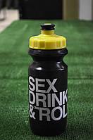 Фляга 600ml Green Cycle Sex Drink & Roll черно-желтая