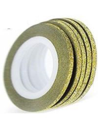 Лента скотч для дизайна - золотая зернистая , 3мм.