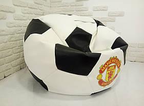 """Кресло мяч """"Манчестер Юнайтед"""" Экокожа Белый/Черный, фото 3"""