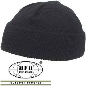 шапка вязаная короткая чёрная Mfh 10924a цена 134 грн купить в