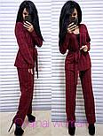 Женский брючный костюм в клетку: жакет с поясом и прямые брюки (2 цвета), фото 2