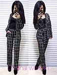 Женский брючный костюм в клетку: жакет с поясом и прямые брюки (2 цвета), фото 3