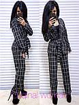 Женский брючный костюм в клетку: жакет с поясом и прямые брюки (2 цвета), фото 4