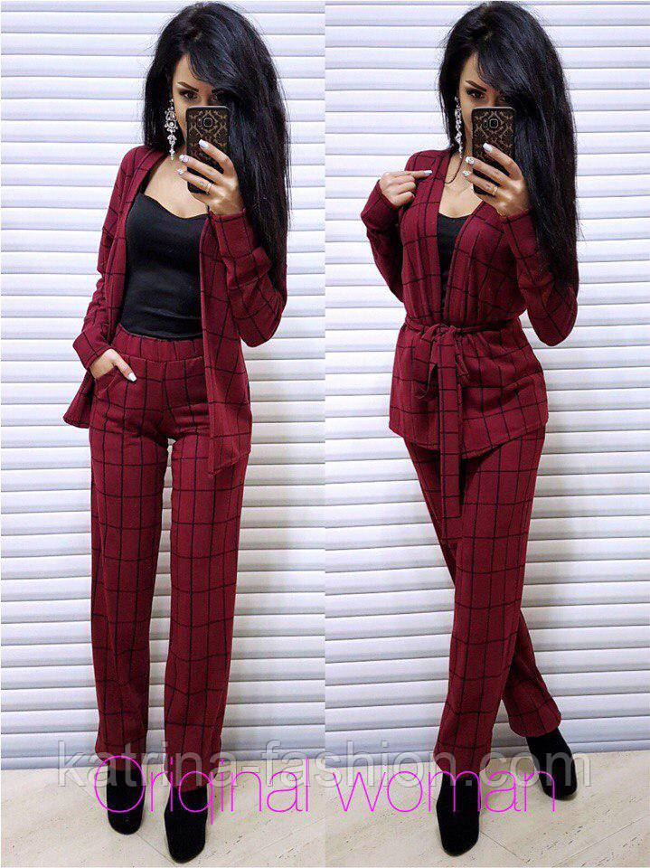 Женский брючный костюм в клетку: жакет с поясом и прямые брюки (2 цвета)
