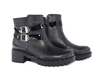 Ботинки женские кожаные  на змейке V 1161
