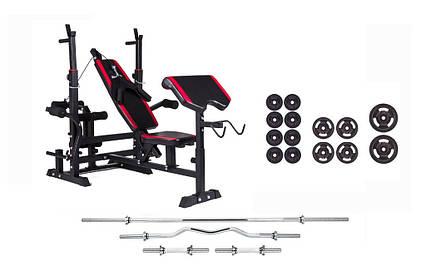 Штанга 84 кг со скамьей, тягой, партой и гантелями для дома и спортзала, Львов, фото 2