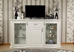 Комод со стеклом широкий в классическом стиле  Платина 1,85   РКБ-Мебель, цвет на выбор