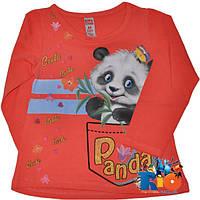 """Детский весенний батник """"Panda"""", тонкий трикотаж (95% коттон, 5% эластан),  для девочек 1-4 года (4 ед в уп)"""