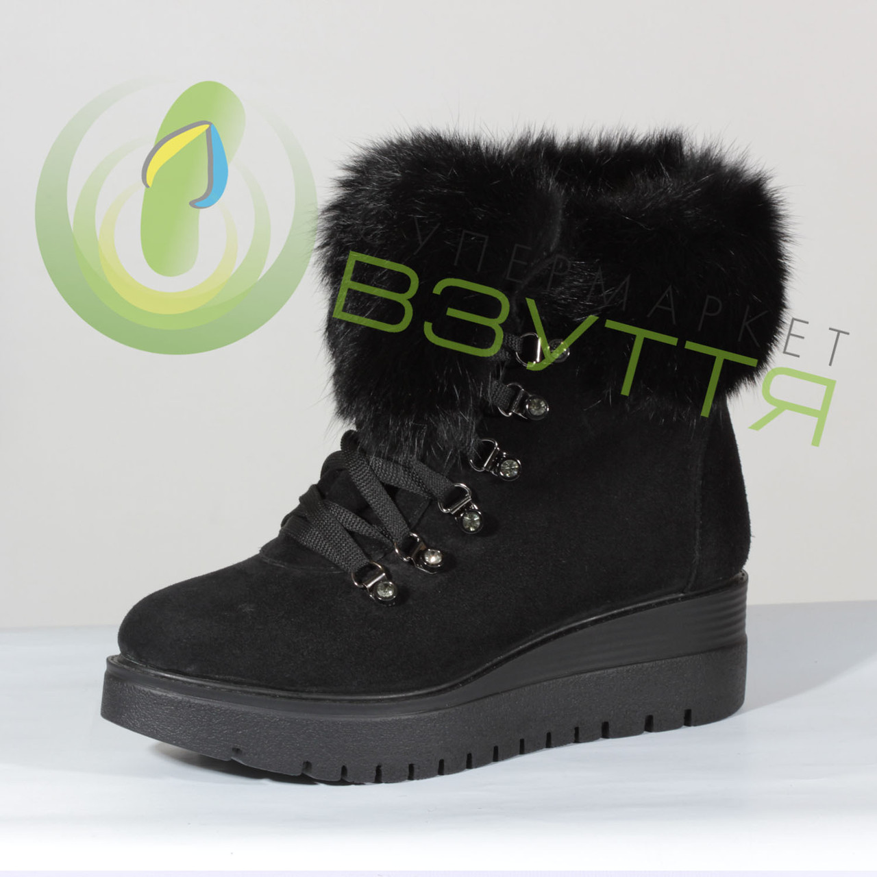 Зимние ботинки с меховым отворотом 36 размер