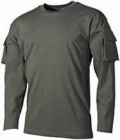 Тактическая футболка (XXL) спецназа США с длинным рукавом, тёмно-зелёная, с карманами на рукавах, х/б MFH 00123B