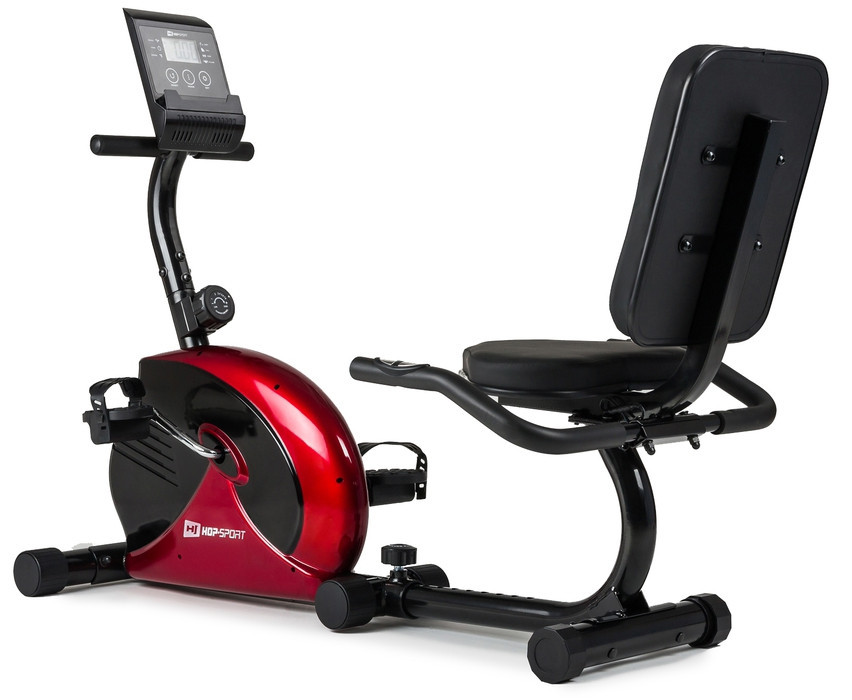 Горизонтальный велотренажер Hop-Sport HS-65R VEIRON red/black для дома и спортзала, Львов