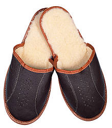"""Тапочки домашние мужские кожаные """"коричневые"""" 40"""