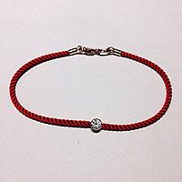 Красная нить с камнем Swarovski. Золото проба 585. Вес изделия 1,2грм