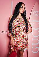 Свободное женское платье летние из шифона короткое