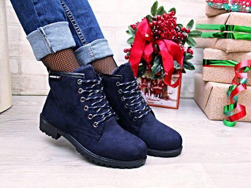 Синие женские ботинки, фото 2