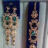 Подовжені вечірні сережки під золото з червоними камінцями, висота 12 див., фото 6
