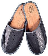 """Тапочки домашние мужские кожаные """"Ромб"""" серый"""
