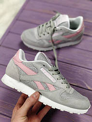 Кроссовки Reebok Classic grey/pink. Живое фото (Реплика ААА+)