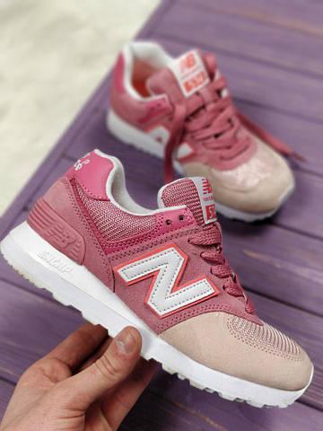 Женские кроссовки New Balance 574 Pink Beige. Топ качество. Живое фото ( Реплика ААА+) 2d33885869d