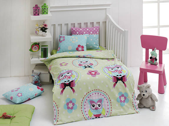 Детское постельное белье для младенцев Eponj Home - Baykus Yesil, фото 2