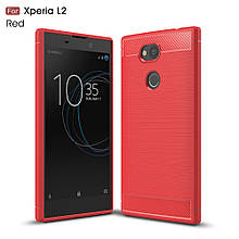 Чехол накладка TPU Fiber Carbon для Sony Xperia L2 красный