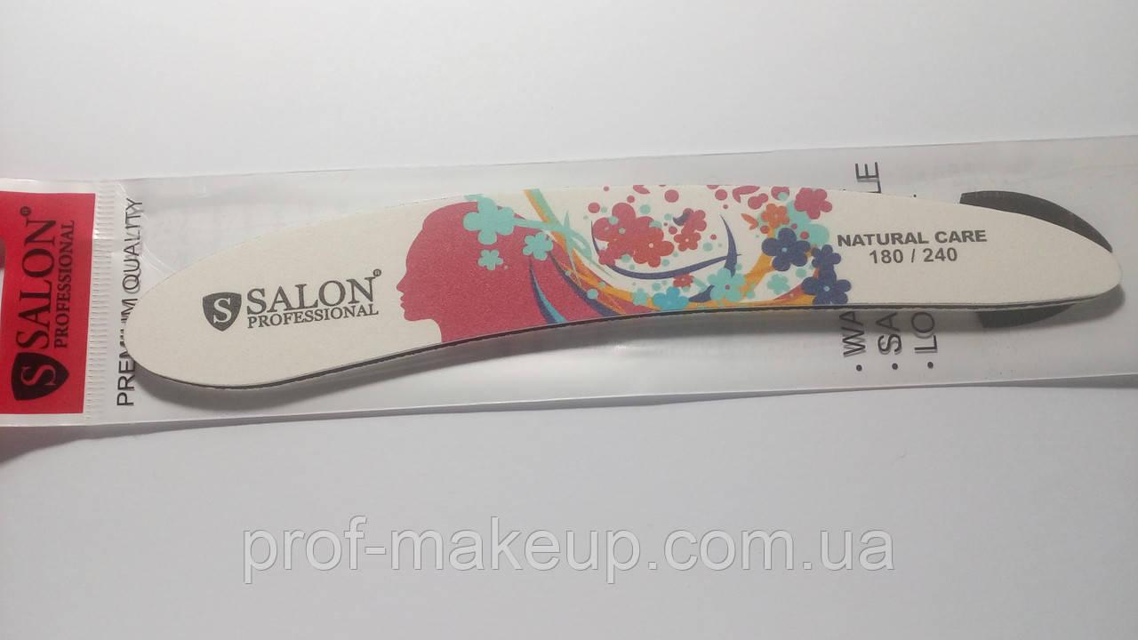 Пилочка Salon широкая 180/240 цветная бумеранг.