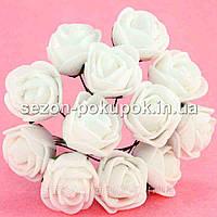 Роза латекс 2см (цена за букет 12 шт) цвет-Молочный