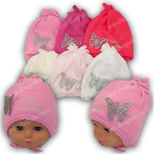 Вязаная шапка на завязках, для девочки, р. 44-46, Ku332