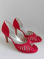 Женские красные летние туфли 43р с открытым носком и средним каблуком